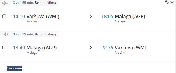 Skrydis iš Varšuvos į Malagą/Ispaniją