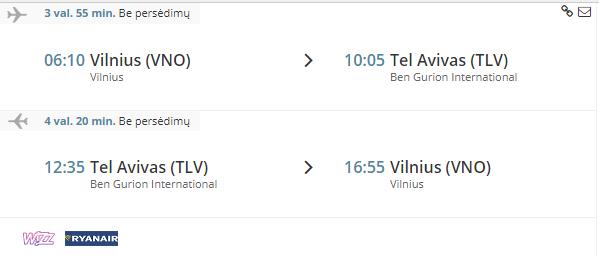 Pigus skrydis i Tel Avivą sausio mėnesį