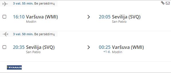 Skrydis i Seviliją/Ispaniją iš Varšuvos