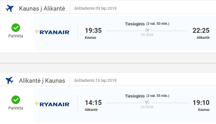 Pigus skrydis į Alikantę/Ispaniją