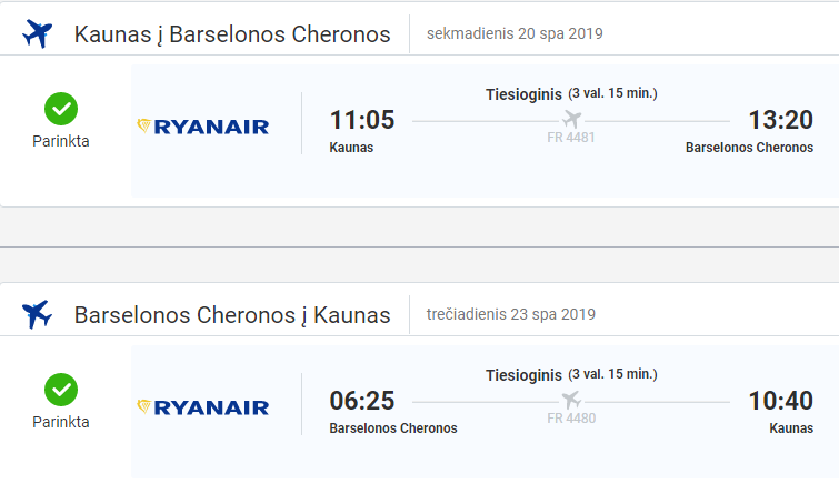Pigus skrydis į Barseloną iš Kauno