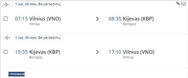 Pigus skrydis i Kijevą