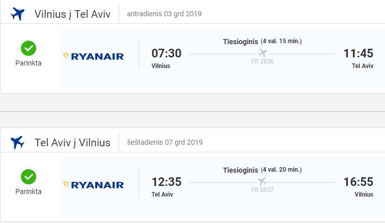 Pigus skrydis i Tel Avivą